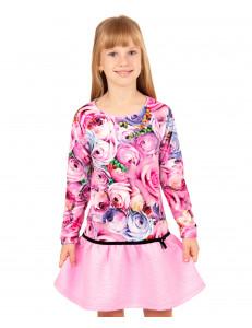 """Платье розового цвета для девочек с длинным рукавом """"Романс"""""""