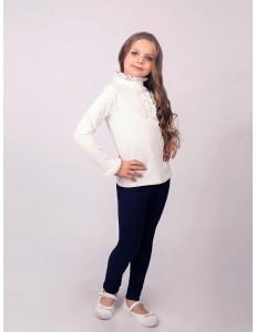 """Блузка для девочек молочного цвета с воротником """"стойкой"""""""