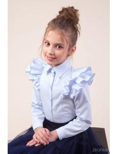 "Блузка голубого цвета с двойным воланом на рукаве ""Бабочка"""